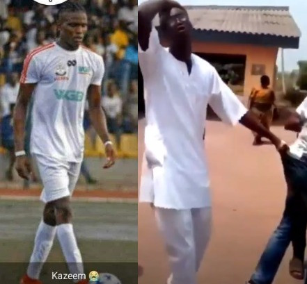 Father of Kazeem Tiamiyu holds on to a SARS officer after killing his son in Sagamu (VIDEO)