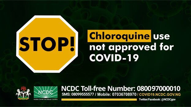Chloroquine not approved for treatment of Coronavirus – NCDC warns Nigerians