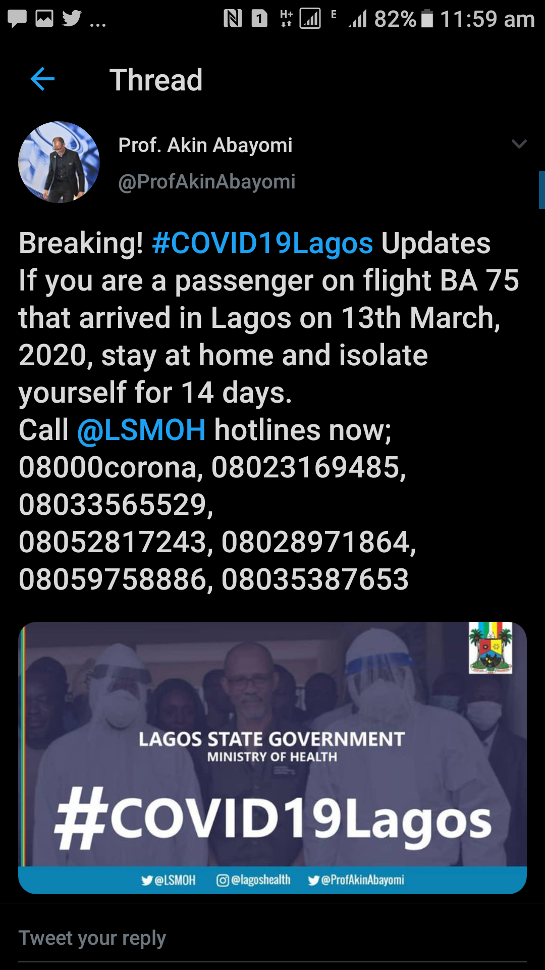 """""""Isolate yourself for 14 days if were a passenger on flight BA 75"""" – Lagos Health Commissioner, Prof Abayomi"""