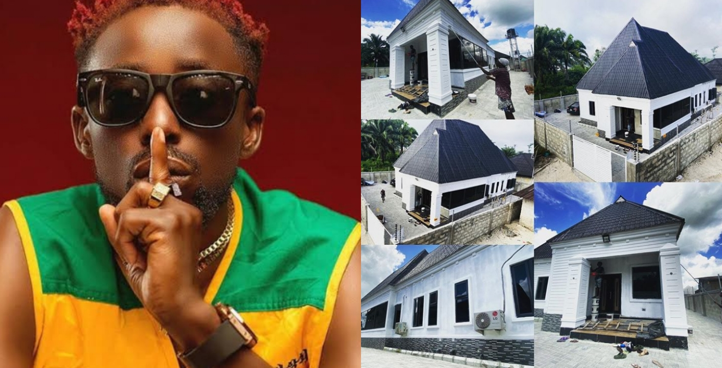 Rapper, Erigga thank God as he shows off his new mansion (Photos)
