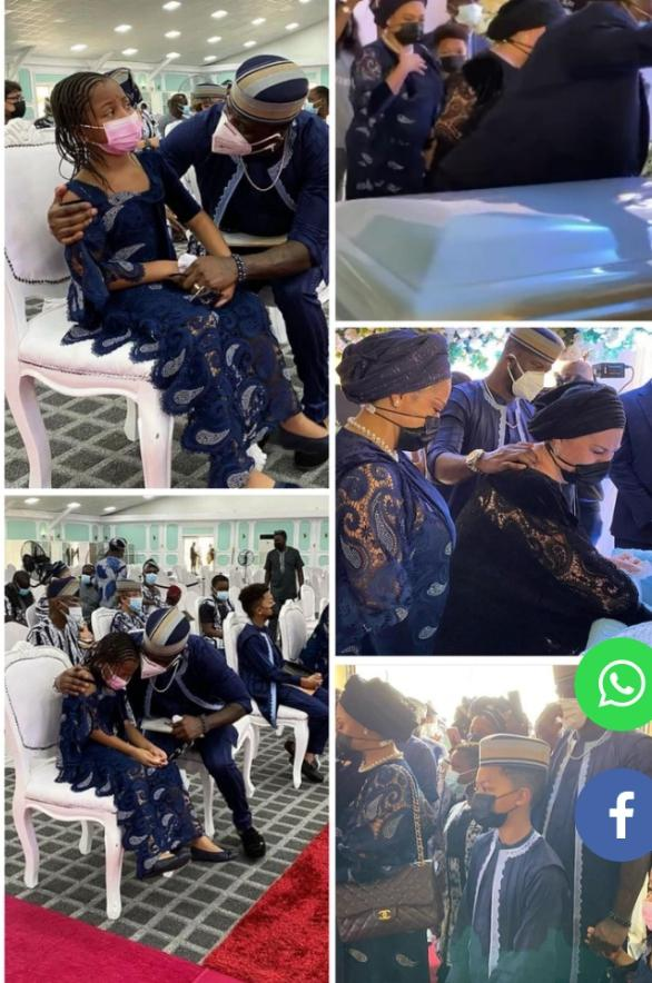 Moment Peter Okoye's 8-year-old daughter, Aliona broke down in tears during her grandfather's burial